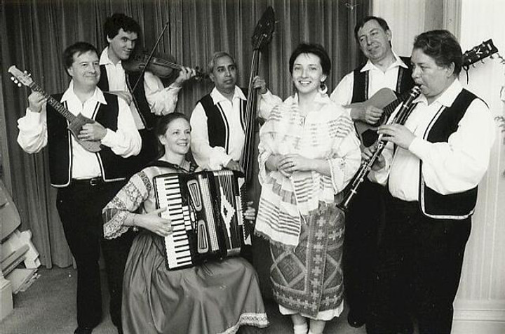 Dunav members posed with instruments in 1993