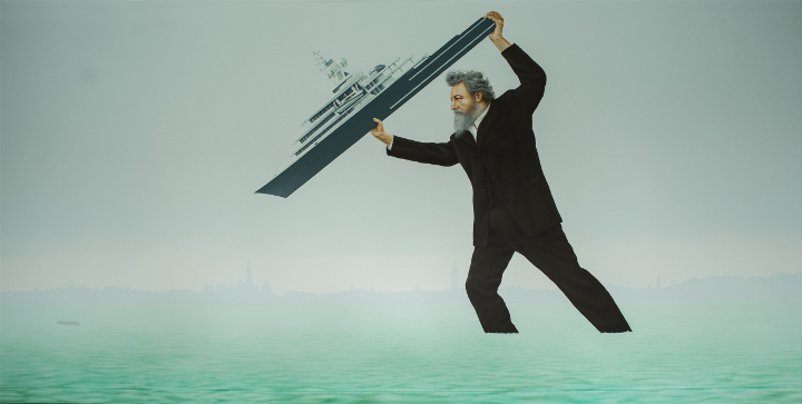 William Morris takes direct action with Roman Abramovich's yacht in painting by Jeremy Deller
