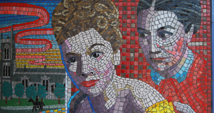 A mosaic in Leytonstone underground station featuring a scene from Alfred Hitchcock's film Rebecca