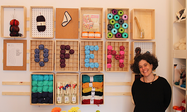 Anna Feldman in her Wild and Woolly shop