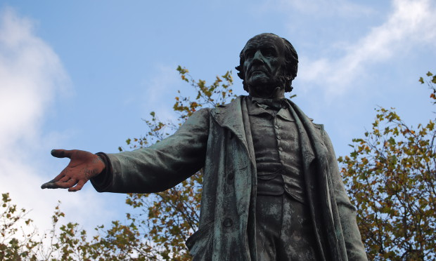 Red-handed: William Gladstone statue in Bow Churchyard. Photograph: Russell Parton
