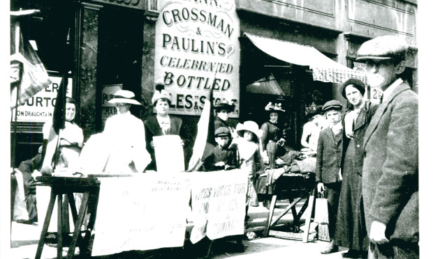Suffragette's stall on Roman Road Market