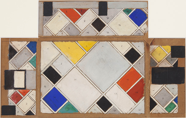 Theo Van Doesburg, Colour Design for ceiling and three walls 1926-1927
