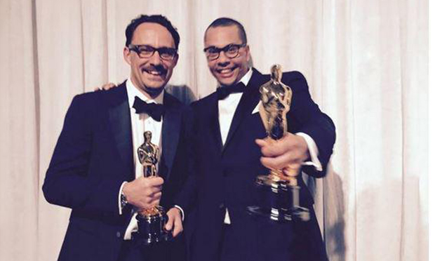Mat Kirkby (left) and James Lucas (right) celebrate backstage with their Oscars. Photograph: Twitter