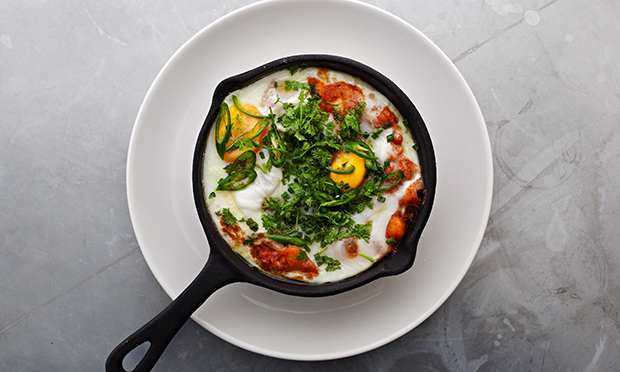 Baked eggs, spiced beans and peppers