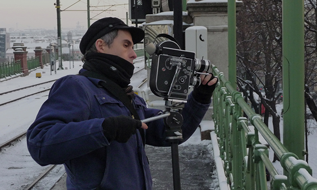 Jem Cohen filming Museum Hours. Photograph: Paolo