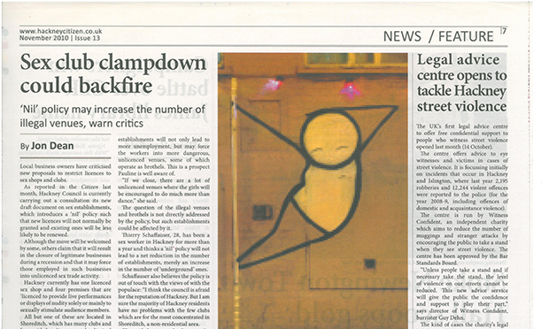 Pole Dancer by Stik, published in the Hackney Citizen (November, 2010)