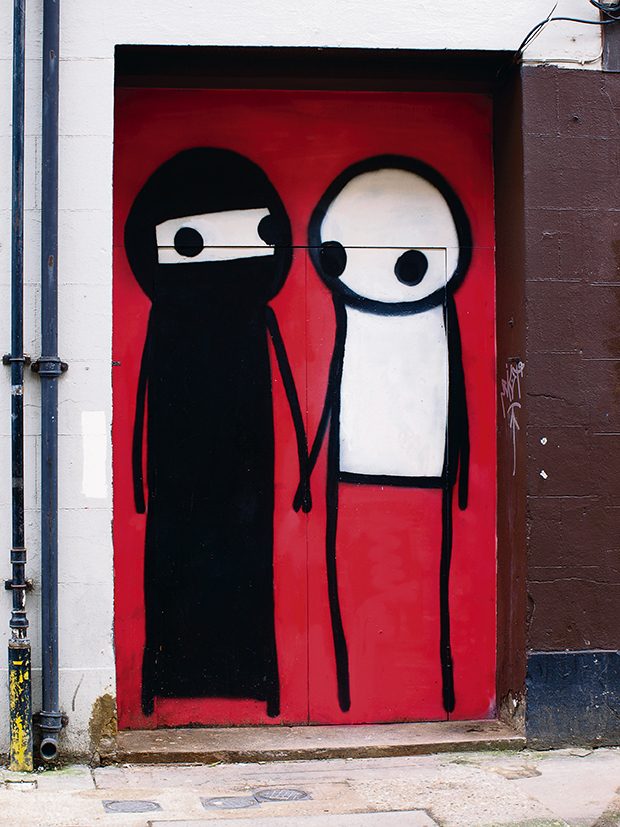 A Couple Hold Hands in the Street, by Stik. Photograph: Claude Crommelin