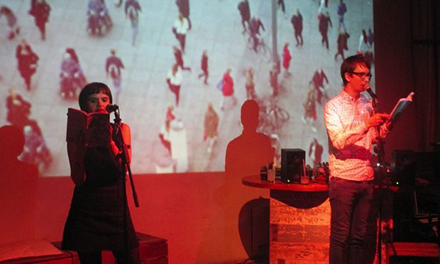 Sarah Lester (left) and Nathan Penlington (right) read at the book launch in Stage 3 café