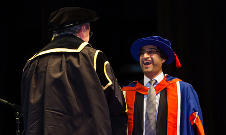 Asif-Kapadia receiving an honorary doctorate at the University of East London in 2011