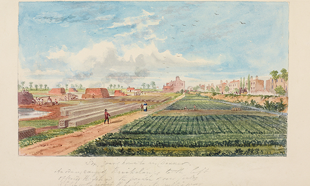 Watercolour of Kingsland Road in 1852, by C.H Matthews, showing market gardens on the right. Published in The Gardens of the British Working Class by Margaret Willes