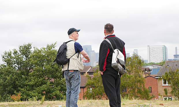 Walking the line: Iain Sinclair (left) surveys London