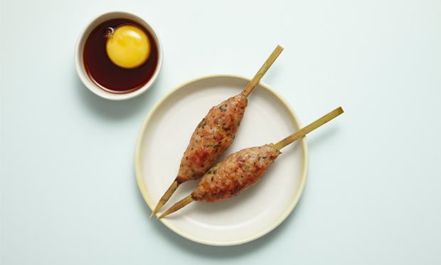 The tsukune, with cured egg yolk. Photograph: Aaron Tilley
