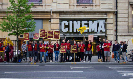Living Wage campaigners protesting outside Hackney Picturehouse in 2014