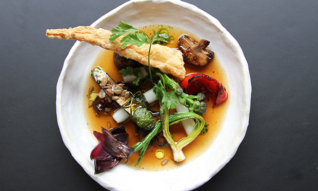 Mushroom broth, vegetable salad, Korean rice & crunchy bean curd skin at Chriskitch