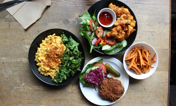 A selection of Café SoVegan's comfort food. Photograph: Jade King